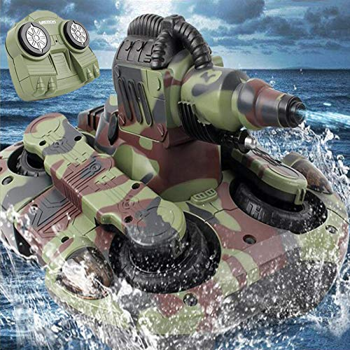 MEILINL RC Tank Amphibious Remote Control Bateau with Rechargeable Battery 4WD High Speed 2.4Ghz Radio Controler 360 ° Rotating Play Gifts for Boys