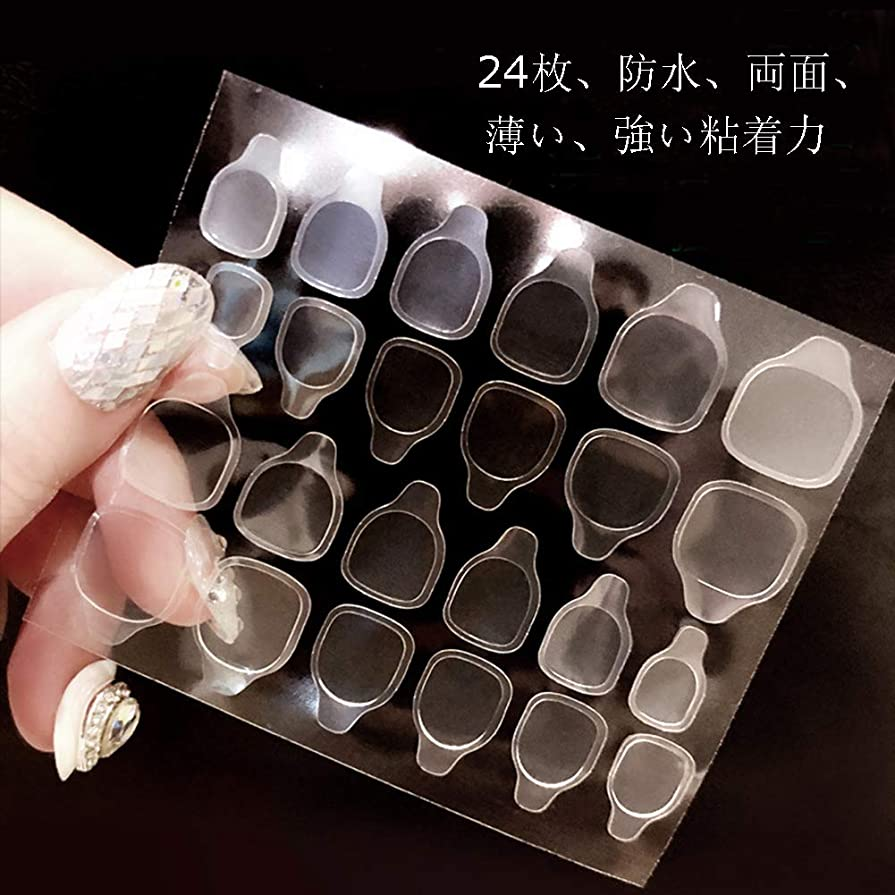 HHMツール 240枚12サイズ 防水 両面 薄い 強い粘着力 マニキュア ネイルチップの 粘着テープ ゲルテープ 強力 透明 ゼリー アイテム 用品 つけ爪を接着するテープ ステッカー ネイル接着剤