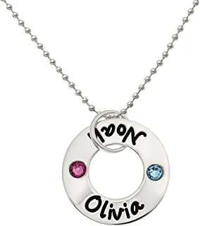 necklace with children's names and birthstones