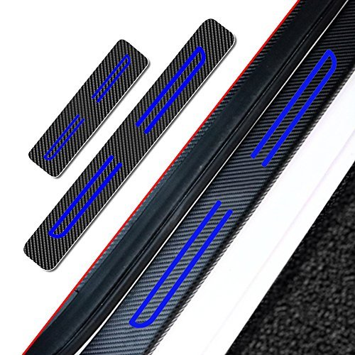 Muchkey 4pcs Vinyl Car Door Sill Guard Protector Film For SUBARU XV CROSSTREK 2013-2018 Door sill lining Scuff Plate Cover Trims Blue