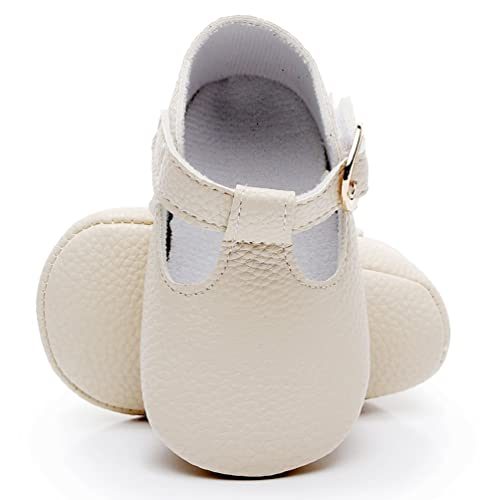 HONGTEYA Baby Girls Boys T-Strap Moccasins - Newborn First Walker Mary Jane PU Soft