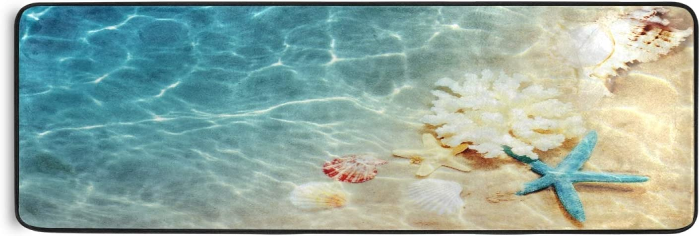 Ombra Long Runner Rug Tropical Courier shipping free Starfish Area Seashell Beach Sea Luxury