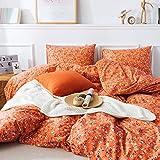 HoneiLife Duvet Cover Queen Size - 100% Cotton Comforter Cover Floral Duvet Cover Sets,Orange Duvet Cover with Zipper Closure & Corner Ties, 3pcs Wrinkle Free Comforter Cover Sets-Little Flower