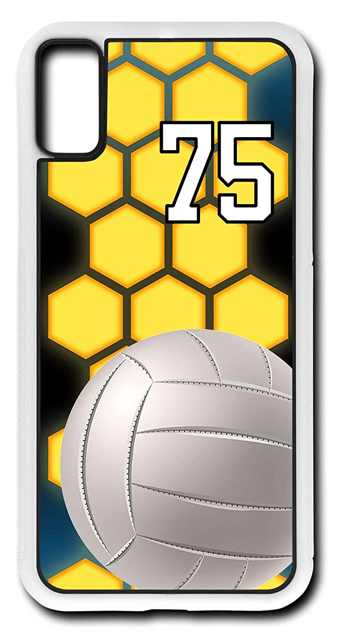 iPhone Xs Case Volleyball V043Z Choice of Any Personalized Number Phone Case by TYD Designs in White Rubber with Team Player Jersey Number 75