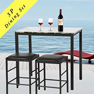 Payhere Modern Dining Kitchen Table -3 Piece Dining Set Faux Marble Rectangular Dining Table with Two Stools for Home or Hotel Dining Room, Kitchen or Bar Dark Brown