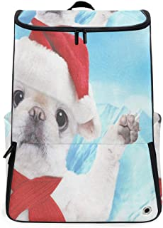 Dog in Red Christmas Hat Large Sports Backpack with with Shoe Compartment Hiking Camping Rucksack for Men Women