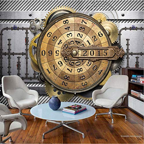 Cczxfcc aangepaste muurschildering 3D Gear industrieel zwaar metalen behang bar kTV kleding winkel internet bar behang kompas klok behang muurschildering 350 cm x 245 cm.