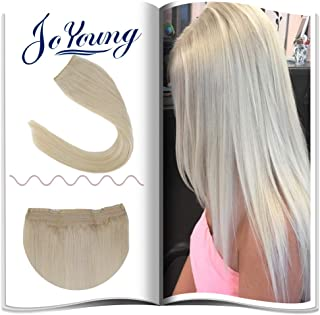 JoYoung One Piece Miracle Wire Halo Extensions For Women Silk Straight Human Hair 11