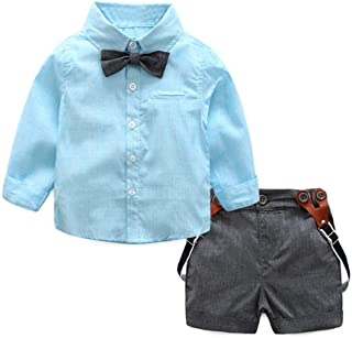 2Piece Infant Baby Boys Gentleman Outfit Set, Bowknot Stripe Shirt Suspenders Shorts Overalls, Party Suit (70-100)