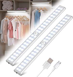 Luz Armario 40 LED, 2pack USB Recargable Luces LED Armario con Sensor Movimiento, 3 Modos Lámpara LED de Armario con Tira Magnética, para Armario, Cocina, Escalera, Pasillo y Emergencias