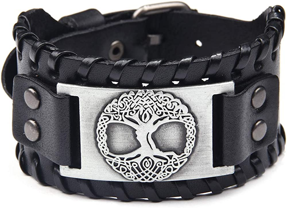León Jewelry Vintage Tree of Life Wide Wristband Cuff Bangle Leather Bracelet Gothic Rock Punk Cosplay Costume