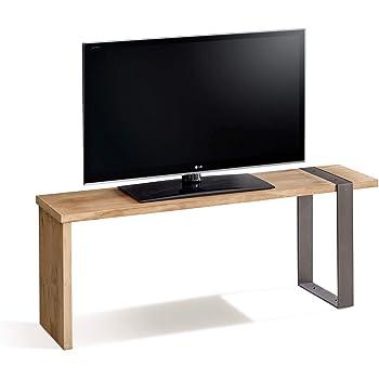 Morfeo-Mesa televisión, Mueble TV Madera Maciza Natural Diseño Industrial-Vintage, Medidas 110 x 30 x 40 cm.: Amazon.es: Electrónica