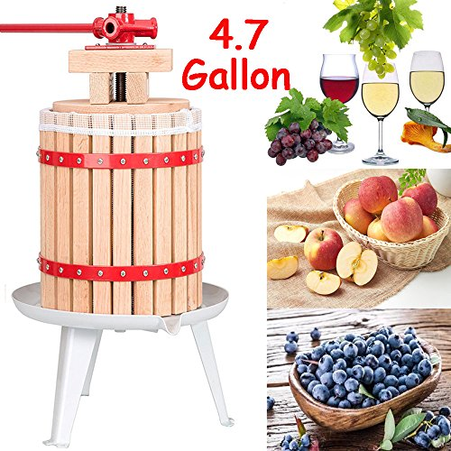FCH 18L Wine Press Wood Oak Fruit Cider Press with Mesh Bag (4.7 Gallon)