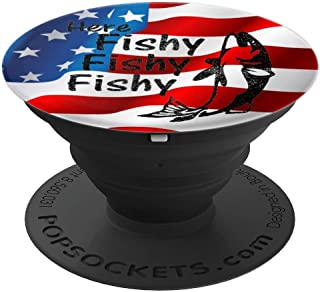 USA Rod And Reel Spinning Funny Fly Fishing Meme Gift - PopSockets Grip and Stand for Phones and Tablets