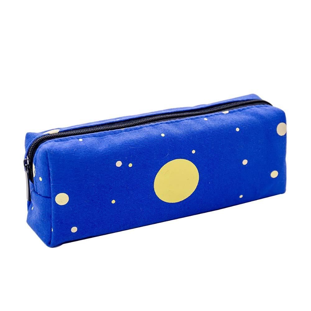 Wicemoon 1pcs Estuche de Lápices Patrón de Geometría de Lona Bolso de Lápiz Bolsa de Maquillaje Papelería Azul: Amazon.es: Juguetes y juegos