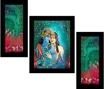 1ArtofCreation Set Of 3 Radhey Krishna Modern Art New Gorgeous UV Coated Home Wall Decorative Painting With Frame 12 Inch X 18 Inch SANFS31629