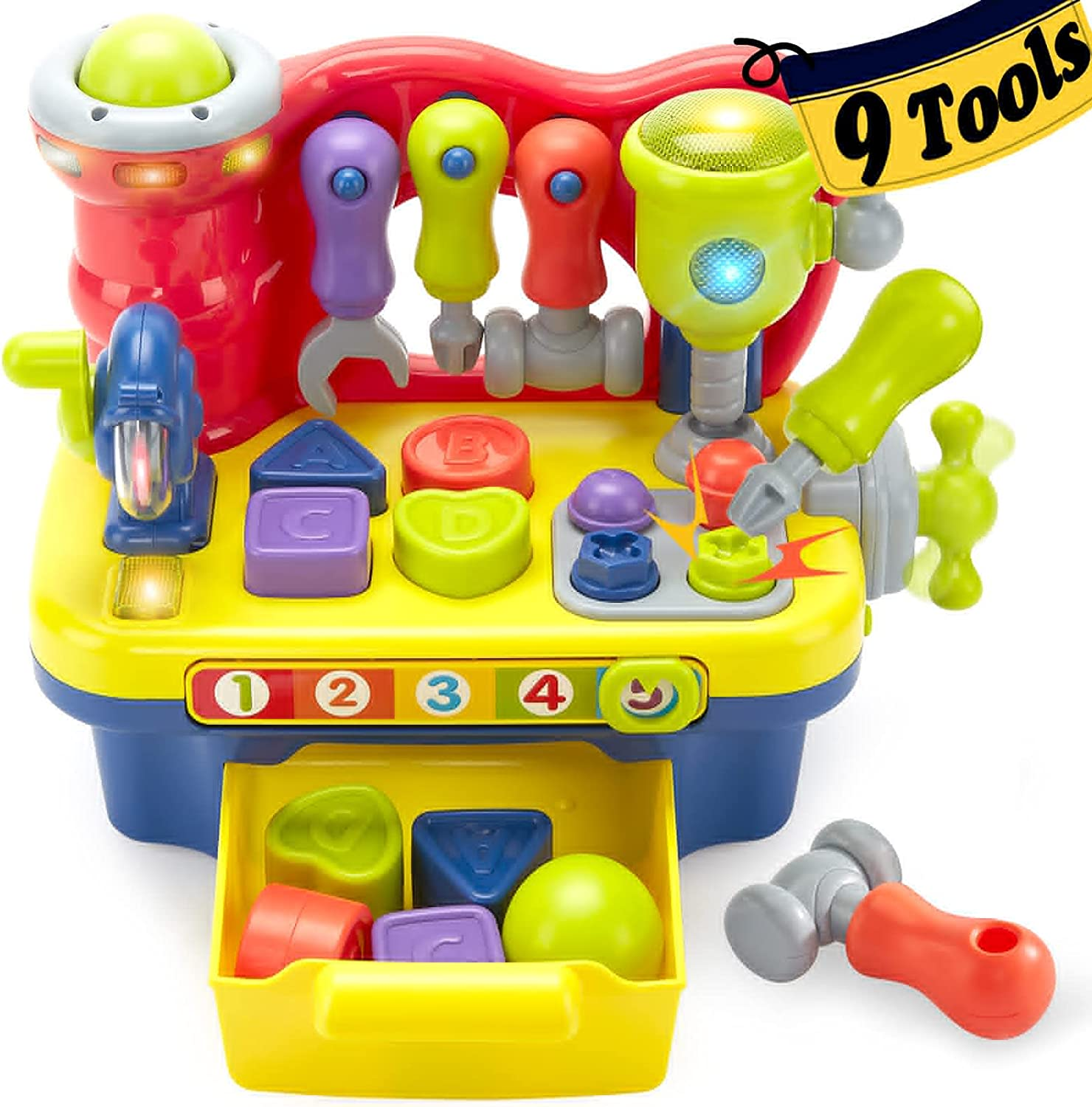 Hahaland Toys for 1 Year Old Boy Gifts Girl Toy, Multifunctional Music Light Workbench for Baby Toys 12-18 Months, Toddler Toys Age 1-2 Baby Boy Toys Gifts Toys for 2 3 Year Old Boy Girl Birthday Gift