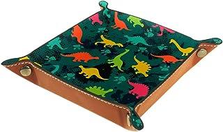 BestIdeas Panier de rangement carré 16 × 16 cm, avec silhouette de dinosaure colorée, boîte de rangement sur table pour la...