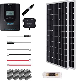 Renogy 200 Watt 12 Volt Off Grid Premium Monocrystalline Solar Panel with 20A MPPT Rover Controller/Mounting Z Brackets Adaptor Kit/Tray Cables Set /MC4 Fuse, 200W-20A