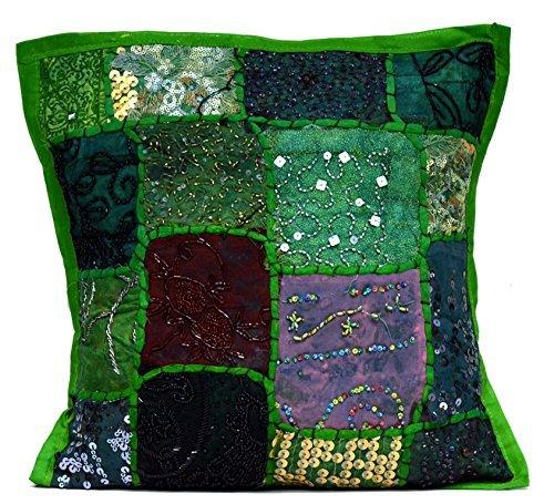 Sophia Art Une très Belle Indienne Ethnique Broderie Paillettes Patchwork Sol Taie d'oreiller Couvre-lit Housse de Coussin (Vert)
