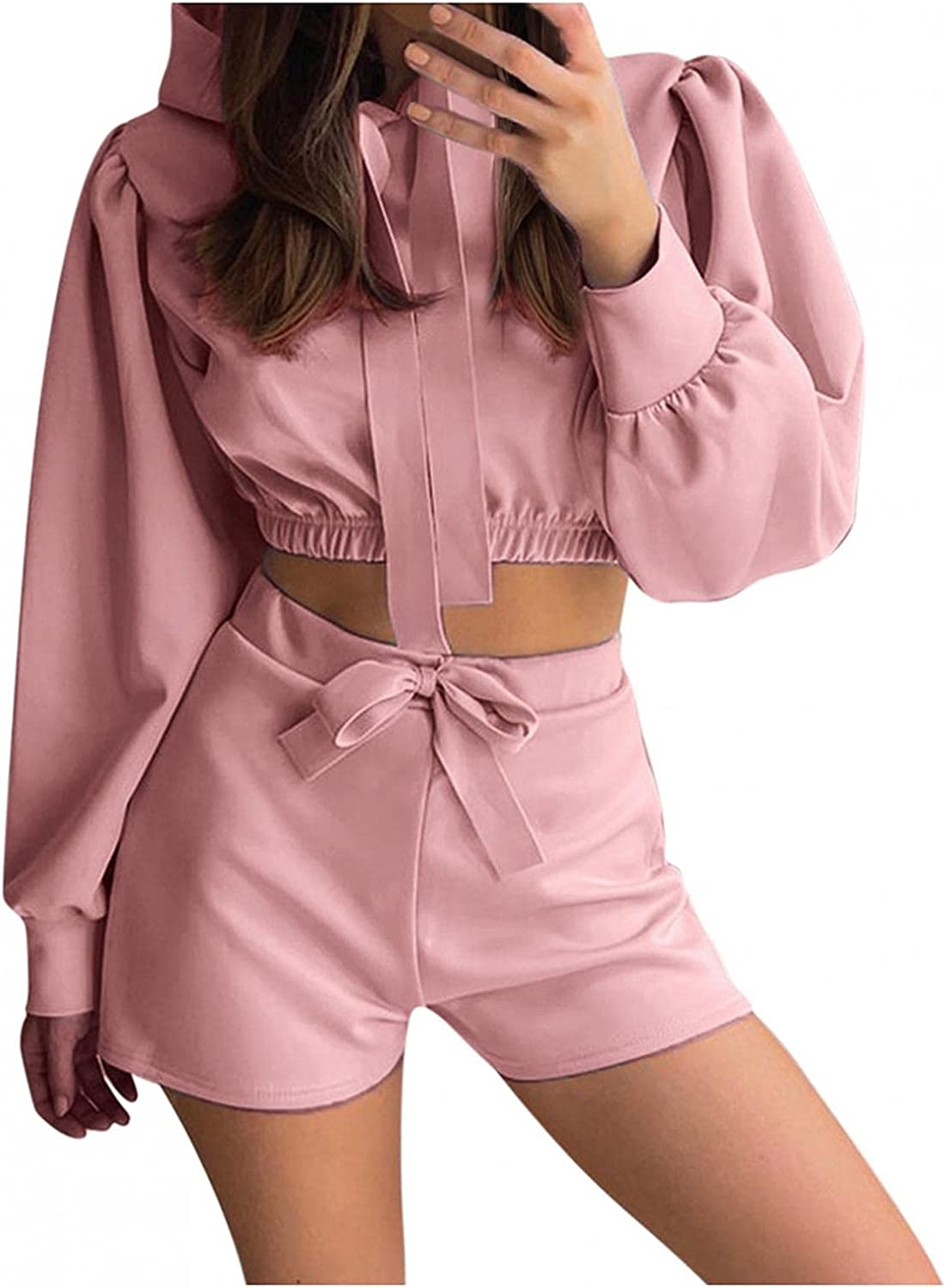 HUOJING Tracksuits for Discount mail We OFFer at cheap prices order Women Solid 2-Piece Crop Suit Loungewear