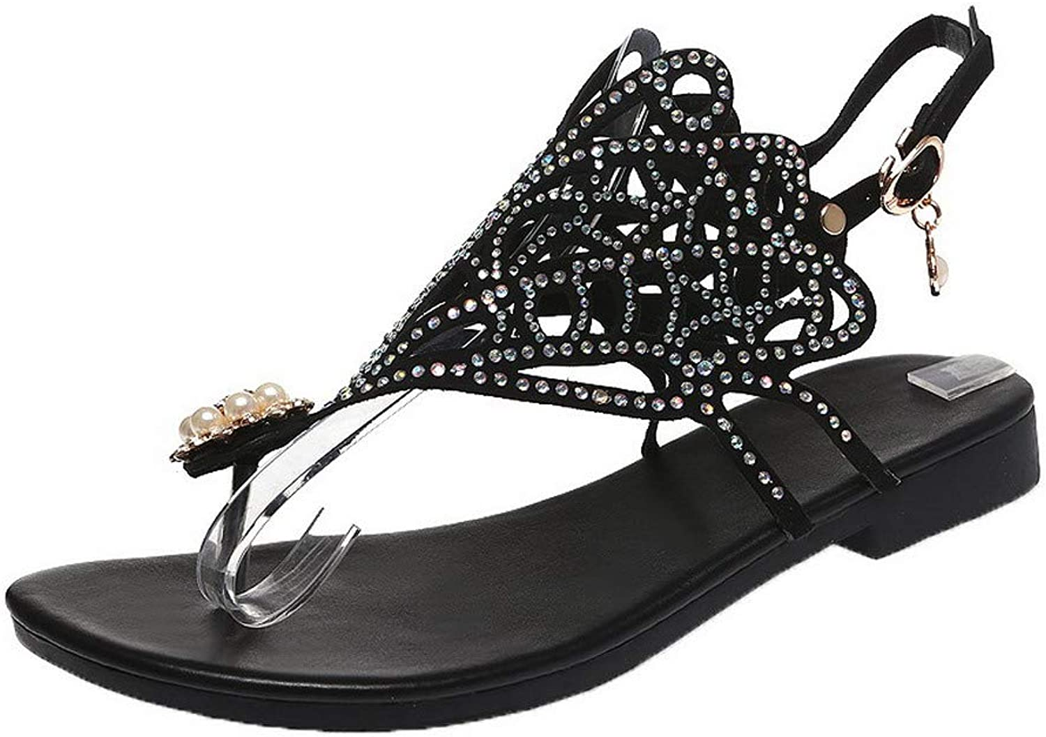 AllhqFashion Women's Buckle Low-Heels Frosted Solid Open-Toe Sandals