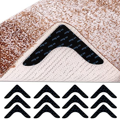12 Pcs Corner Rug Gripper Reusable Non Slip Rug Grippers for Drawing Room, Anti Curling Corner Carpet Tape Washable, Keep Area Rugs Flat on Hardwood Floors in Bathroom