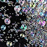 OIIKI 150g UV Resin Bubble Beads, Transparent Iridescent Colored Water Droplet Bubble Beads No Hole Bubble Beads Resin Supplies Accessories for Shaker Resin Molds Fillers Jewelry Making(0.4mm to 3mm)