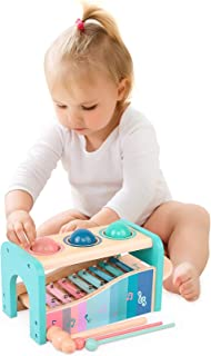 Arkmiido Kids Pound & Tap Bench with Xylophone for Toddlers Wooden Pounding & Hammer Preschool Educational Toy Gifts for 1...