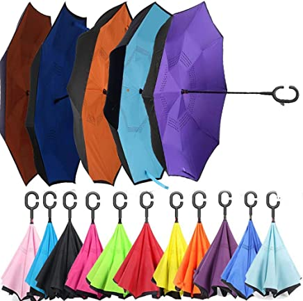 SHOPPOWORLD Windproof Umbrella Reverse C-Shaped Hand Free Handle Folding Double Layer Drip Free Umbrella (Multi Color)