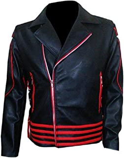 Freddie Mercury Concert Queen Jacket Red and Black Costume Leather Jacket
