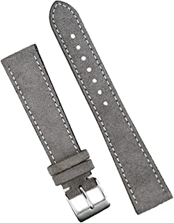 B & R Bands 19mm Gray Classic Suede Watch Band Strap - Medium Length