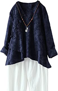 Minibee Women's Long Sleeve Linen Retro Chinese Frog Button Tops Blouse