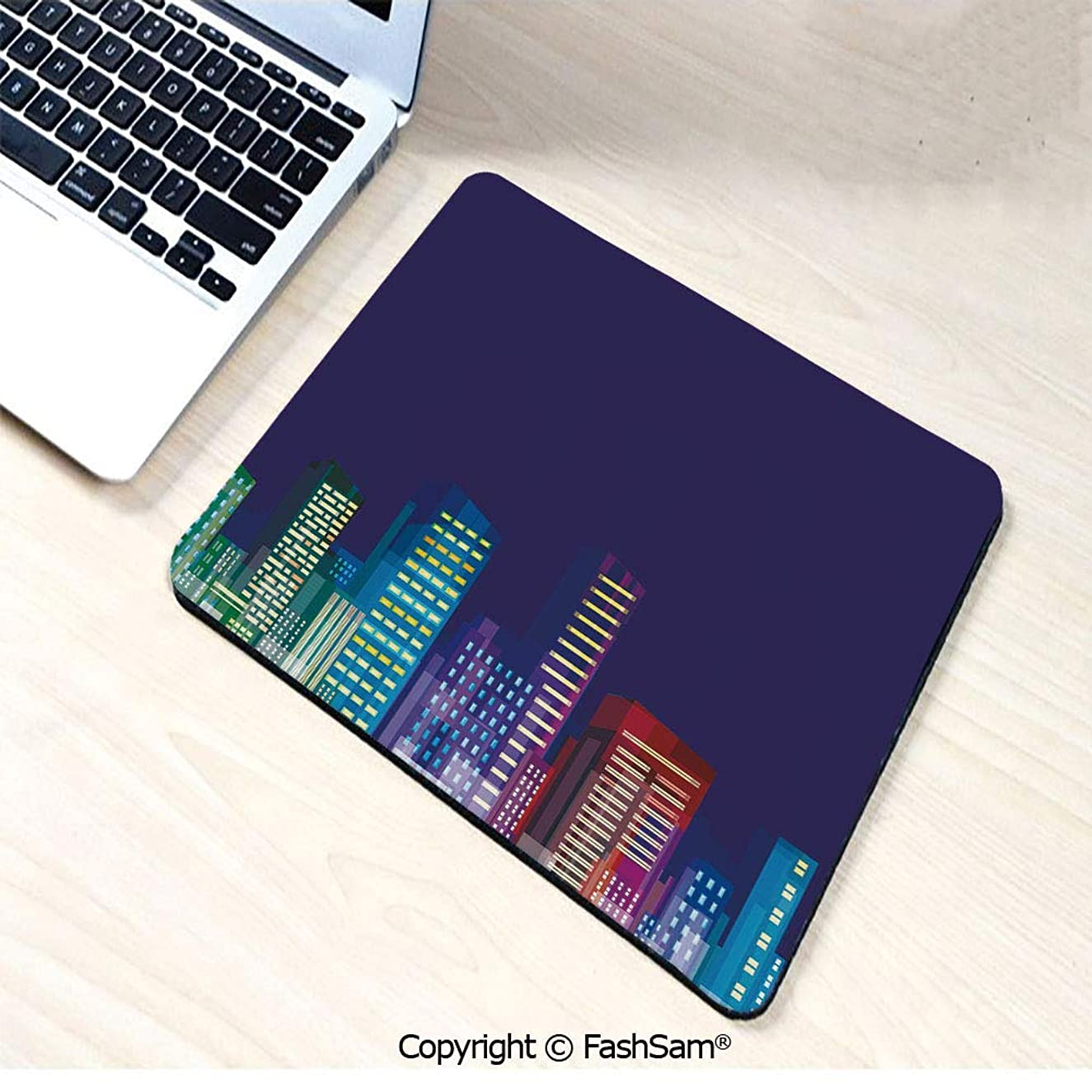 Non-Slip Rubber Mouse Pads Cartoon Print of City Scenery Landscape of Apartments and Buildings Artwork for Computers Laptop Office(W7.8xL9.45)
