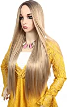 LuoLeiNa Straight Blonde Wig Fashion Women's Highlight Silk Wigs for Girl Heat Friendly Synthetic Hair Mix Color Party Cosplay Wigs for Women