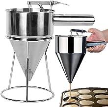 GerTong Entonnoir de cuisson en acier inoxydable, distributeur de pâte à crêpes, support d'aide à la machine à crêpes, poi...