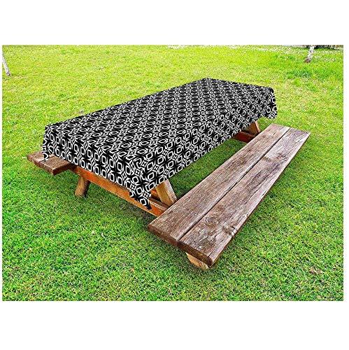 JDCFAS tafelkleed zwart-wit-abstracte vierkant en driehoeken buiten binnen de gebogen ovalen vorm eenvoudige decoratieve Picnic140 cm x 200 cm