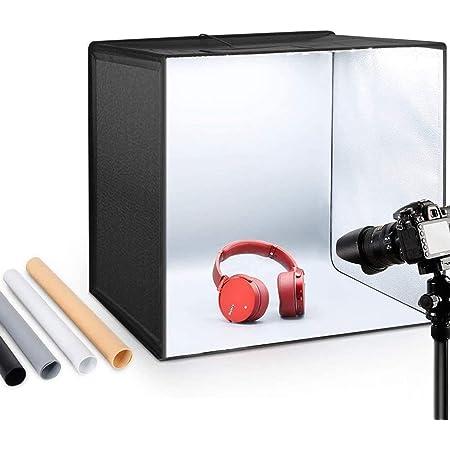 "ESDDI Photo Studio Light Box 20""/50cm Adjustable Brightness Portable Folding Hook & Loop Professional Booth Table Top Photography Lighting Kit 120 Led Lights 4 Colors Backdrops"