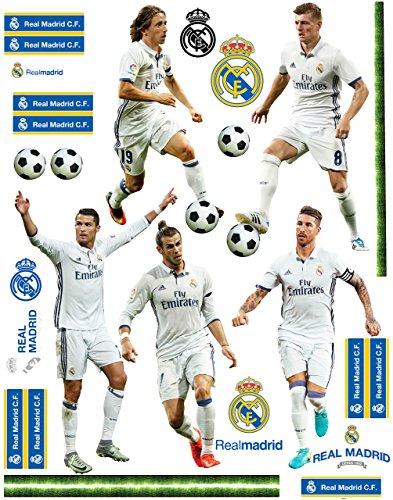 27 TLG. Set _ XL Wandtattoo / Sticker _  Fußball Mannschaft - Real Madrid - Club de Futbol / FCM - Fußballverein  - zum Spielen & als Deko - Wandsticker - A..