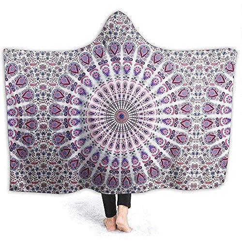 Henry Anthony Pink Blue White Mandala Hoodie Decke Coral Plush Ultra Soft Plüsch Freizeit Wear Hooded Throw Wrap