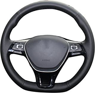 XUJI Hand Sewing Black Genuine Leather Side Hole Black Thread Steering Wheel Cover for Volkswagen VW Golf 7 Mk7 New Polo Jetta Passat B8 Tiguan Sharan Touran(The Original Steering Wheel is Leather)