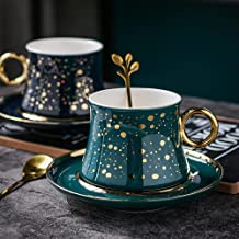 EThome Coffee Cup and Saucer,8.7 Ounce Porcelain Espresso Cup,Starry Sky With Golden Edge Designed Ceramic Cup For Cappucc...