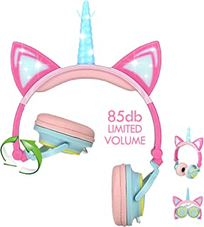 Nice2Mitu Cat Ear Kids Headphones for Girls Tablet School Supplies, Led Glowing Headphones for Kids, Foldable Over On Ear Girl Headphones Toddlers Travel Birthday Gifts (Pink)