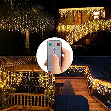B-right LED Window Curtain String Lights 480 LEDs 29V 8 Modes IP44 Fairy Twinkle Starry Lights for Indoor and Outdoor Christmas Wedding Party Home Garden Bedroom Wall Decorations Warm White