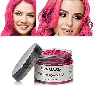 COOLTEA 髪色ワックス、一度だけ一時的に自然色染料ヘアワックスをモデリング、パーティーのための自然なマット髪型。コスプレ、仮装、ナイトクラブ、ハロウィーン(レッド)