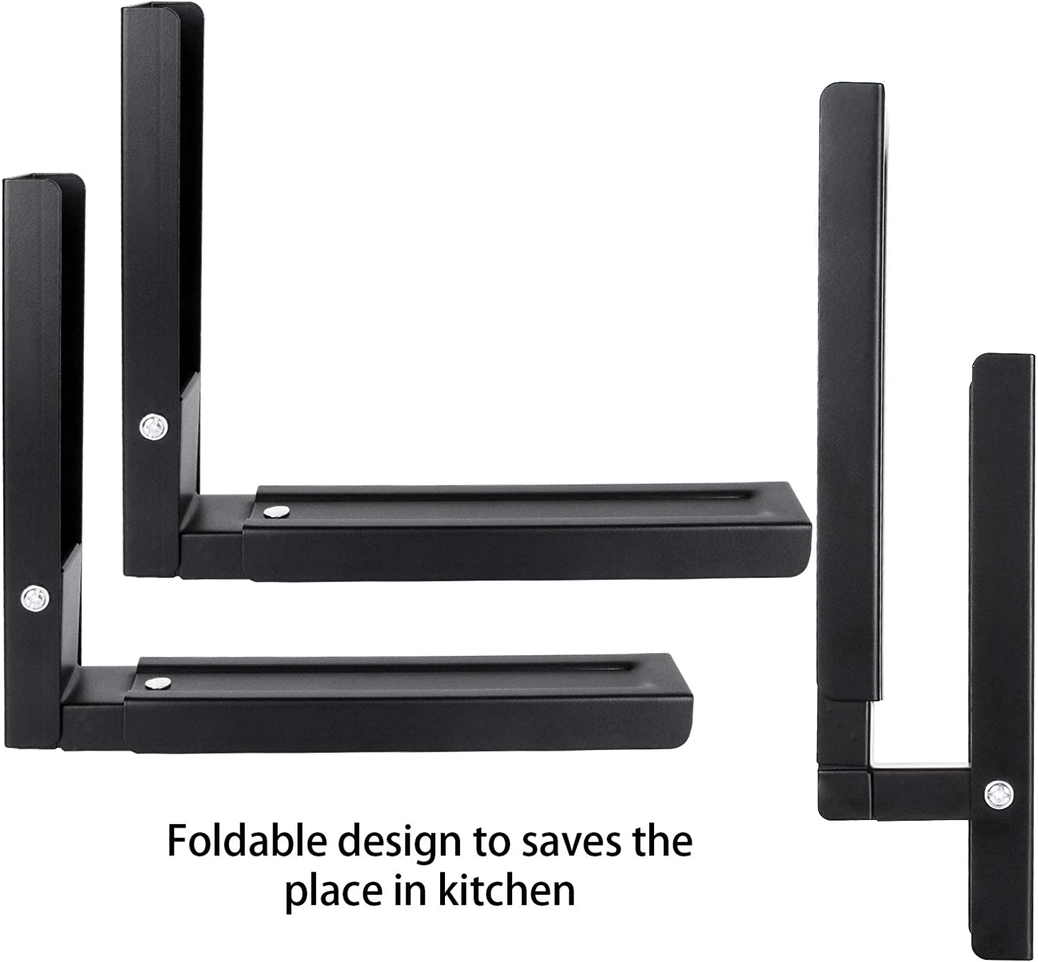 1 Pair Microwave Mounting Bracket, Wall Mounted Microwave Stand Black Kitchen Stretch Oven Stand Adjustable Foldable Microwave Shelf Brackets Rack Load 100 lbs