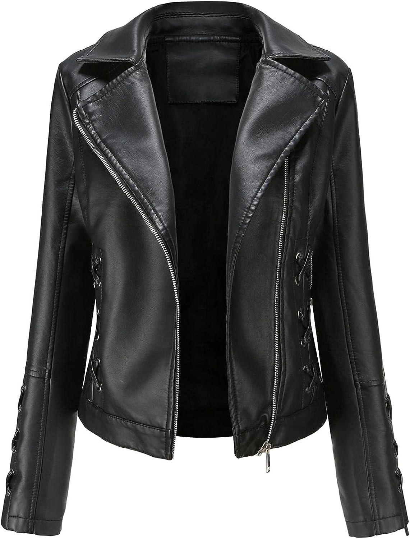 Women Faux Leather Zipper Motorcycle Jacket Solid Color Slim Short Biker Coat