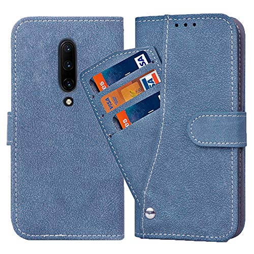 Oneplus 7 Pro Wallet Case,Luxury Leather Phone Cases with Credit Card Holder Slot Stand Kickstand Rugged Flip Folio Protective Cover for One Plus 7Pro Oneplus7pro One Plus7pro Women Men Girls Blue