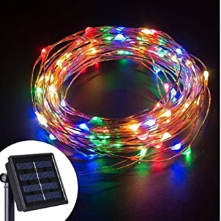 BGVIP Solar LED String Lights, 10M 100 LEDs Waterproof Copper Wire Fairy Light for Holiday Party Daily Wedding Christmas Garden and Outdoor Decoration (RGB)