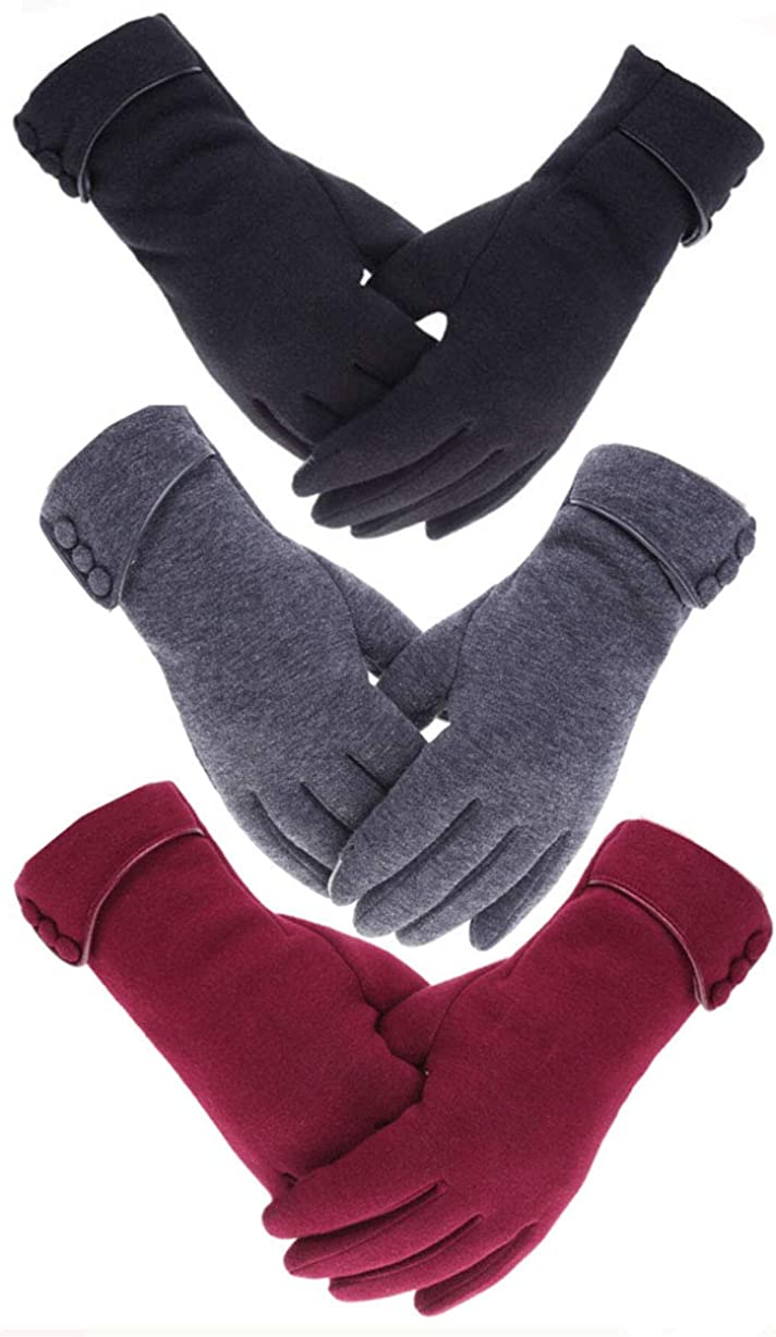 Tomily 3 Pairs Women Winter Gloves Warm Windproof Touchscreen Gloves for Girls Using